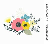 colorful vector set of floral...   Shutterstock .eps vector #1049240495