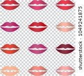 set of women lips with trendy...   Shutterstock . vector #1049241875