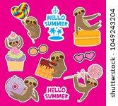 hello summer bright tropical... | Shutterstock .eps vector #1049243204