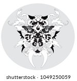 black and white. tiger head... | Shutterstock .eps vector #1049250059