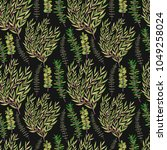 trendy green leaves and... | Shutterstock .eps vector #1049258024