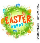 happy easter illustration with... | Shutterstock .eps vector #1049258957