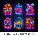 collection neon signs transport.... | Shutterstock .eps vector #1049259161
