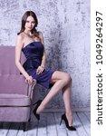 young fashion woman in short... | Shutterstock . vector #1049264297