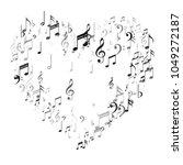 heart of silver music note... | Shutterstock .eps vector #1049272187
