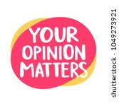 your opinion matters. hand... | Shutterstock .eps vector #1049273921