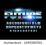 retro alphabet font. sci fi... | Shutterstock .eps vector #1049285501