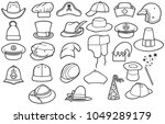 different types of hats thin... | Shutterstock .eps vector #1049289179