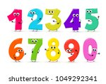 set of funny cartoon numbers... | Shutterstock .eps vector #1049292341