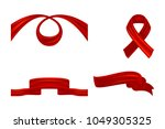 set of red curled textile... | Shutterstock .eps vector #1049305325