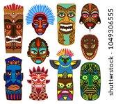 tribal mask vector masking... | Shutterstock .eps vector #1049306555