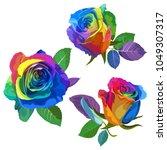 multicolored roses on white... | Shutterstock .eps vector #1049307317