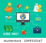 earn money online modern flat... | Shutterstock .eps vector #1049310167