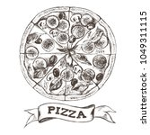 pizza with pepperoni  olives... | Shutterstock .eps vector #1049311115