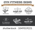 set of vector fitness aerobics... | Shutterstock .eps vector #1049319221