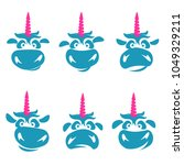 funny unicorn face graphic logo ... | Shutterstock . vector #1049329211