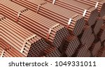 Stack Of Copper Pipes In...