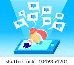 upset crying girl sitting on... | Shutterstock .eps vector #1049354201