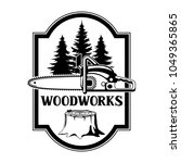woodworks label with wood stump ...   Shutterstock .eps vector #1049365865