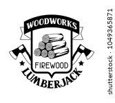 woodworks label with firewood...   Shutterstock .eps vector #1049365871