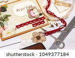 scrapbook background. card and... | Shutterstock . vector #1049377184