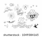 set of hand drawn traditional... | Shutterstock .eps vector #1049384165