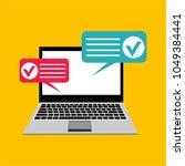 online form survey on pc... | Shutterstock .eps vector #1049384441