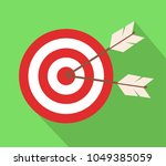 icon target with arrows in flat ... | Shutterstock .eps vector #1049385059