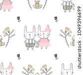 easter seamless pattern with... | Shutterstock .eps vector #1049396699