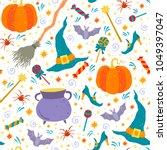 halloween hand drawn vector...   Shutterstock .eps vector #1049397047