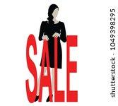 beautiful black women hold sale ... | Shutterstock .eps vector #1049398295