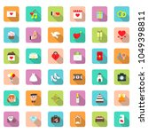wedding icon set in flat style...   Shutterstock .eps vector #1049398811