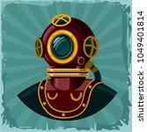 vintage diving suit helmet.... | Shutterstock .eps vector #1049401814