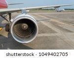 airplane being preparing ready... | Shutterstock . vector #1049402705