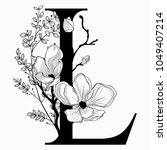 vector hand drawn floral l... | Shutterstock .eps vector #1049407214