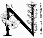 vector hand drawn floral n...   Shutterstock .eps vector #1049407217