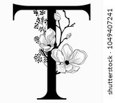 vector hand drawn floral t... | Shutterstock .eps vector #1049407241