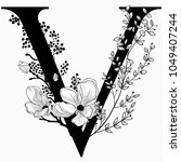 vector hand drawn floral v... | Shutterstock .eps vector #1049407244