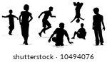 children play group silhouette... | Shutterstock .eps vector #10494076