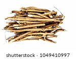 Small photo of Close up of the roots of Ashwagandha plant isolated on white essential beneficial for hair loss,gives strength.