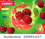 cherry fresh juice advertising. ... | Shutterstock .eps vector #1049411417