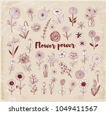 set of doodle sketch flowers on ... | Shutterstock .eps vector #1049411567