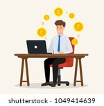 business character sitting the... | Shutterstock .eps vector #1049414639