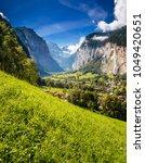 perfect view of alpine valley... | Shutterstock . vector #1049420651
