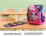 pink girly school bag and...   Shutterstock . vector #1049423459