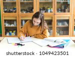 young female college student in ...   Shutterstock . vector #1049423501