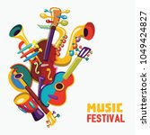 music festival. colorful music... | Shutterstock .eps vector #1049424827