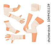 elastic bandage on injured... | Shutterstock .eps vector #1049431139