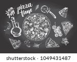 pizza with pepperoni  olives... | Shutterstock .eps vector #1049431487