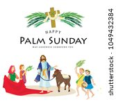religion holiday palm sunday... | Shutterstock . vector #1049432384
